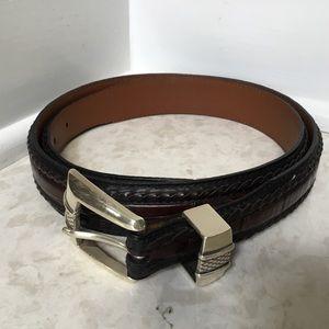 BRIGHTON ONYX brown braided leather belt 40
